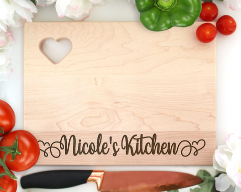 Custom Engraved Wood Cutting Board Rectangle With Heart Name's Kitchen