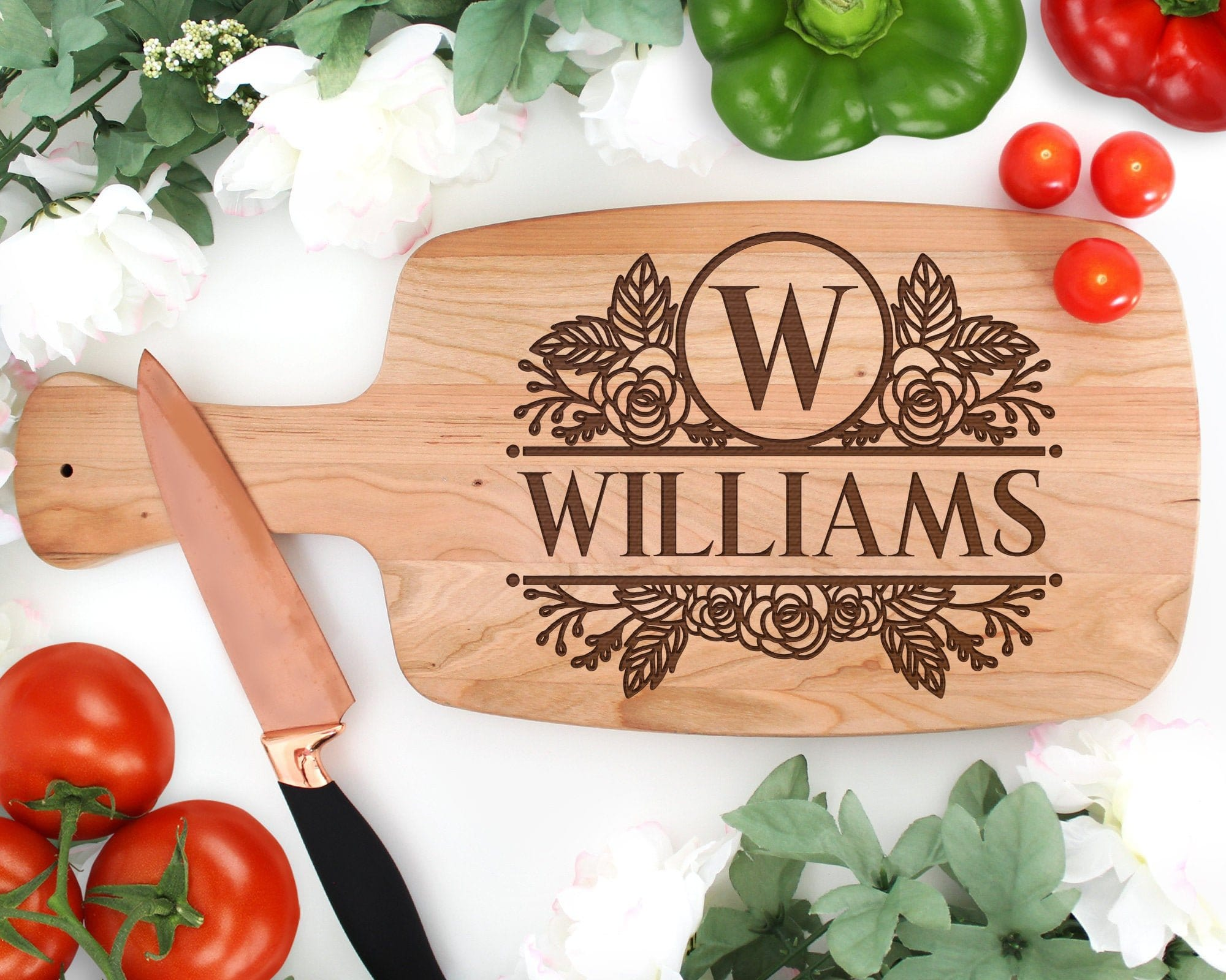 Personalized Wood Engraved Paddle Cutting Board Wedding Gift