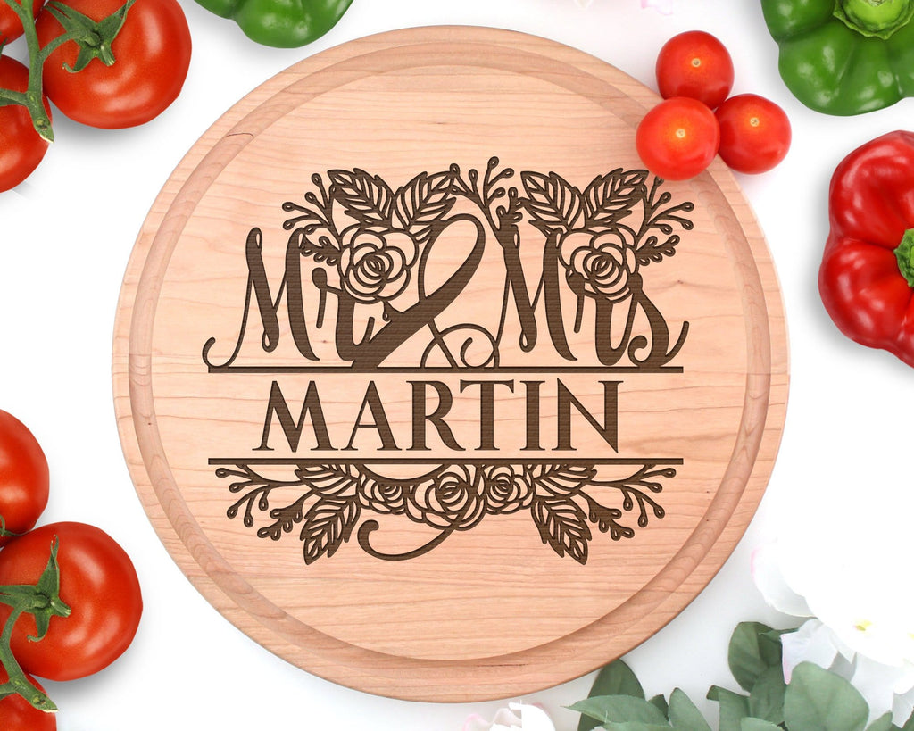 Personalized Wedding Gift Mrs & Mrs Engraved Wood Circle Cutting Board