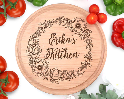 Custom Name Peony Engraved Circle Cutting Board With Juice Groove