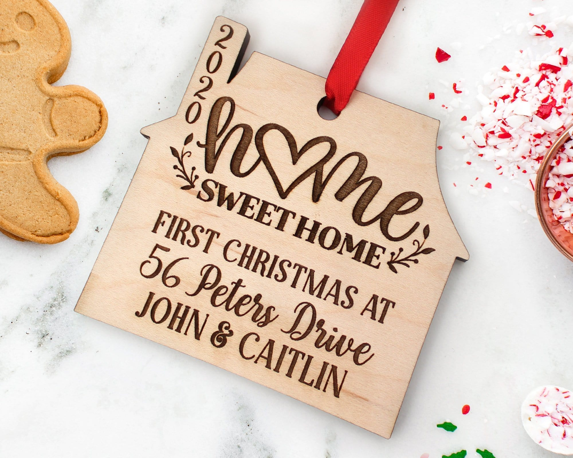 Personalized First Christmas At Address Wood Engraved House Ornament