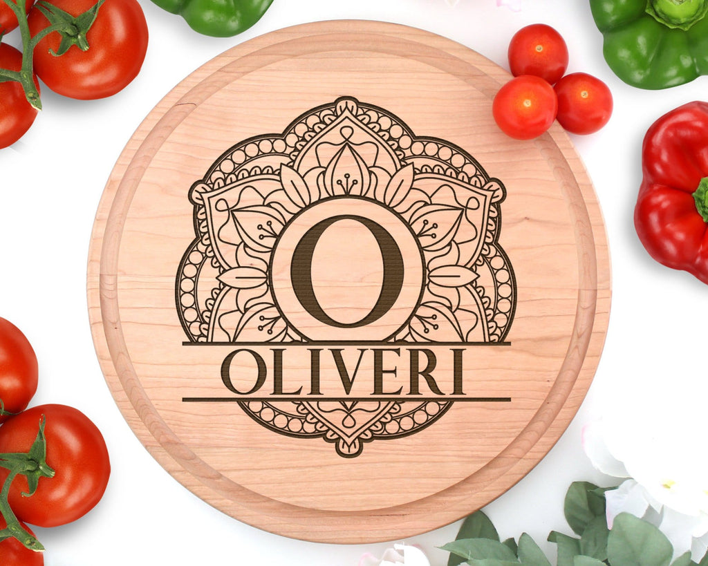 Personalized Name Mandala Circle Cutting Board