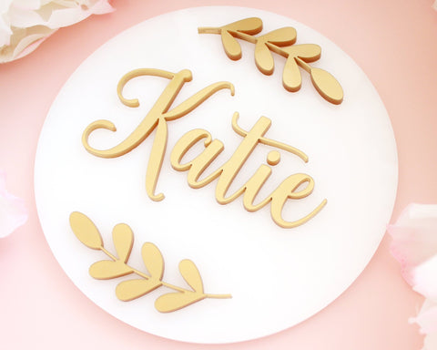 Girl Nursery Sign Gold Acrylic Baby Announcement