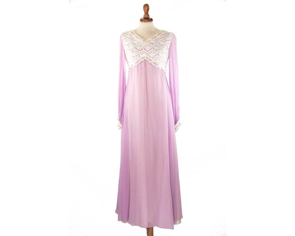 1930s dress lilac pink / empire vintage bohemian dress / lace chiffon dress / size S late sixties made - MyLoftVintage