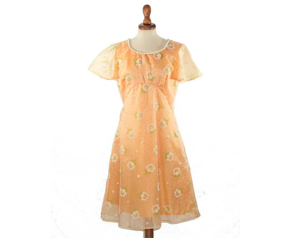 1960s dress romantic / orange flowers pearl boho dress / size S / flare sleeve - MyLoftVintage