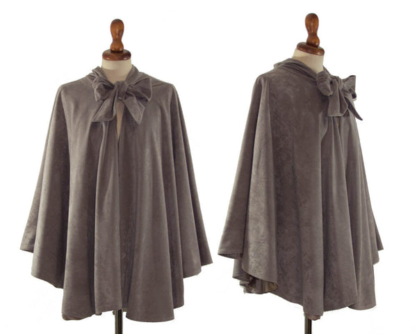 1940s cape original vintage / dove grey wide cape with lining / forties original / ribbon / one size - MyLoftVintage