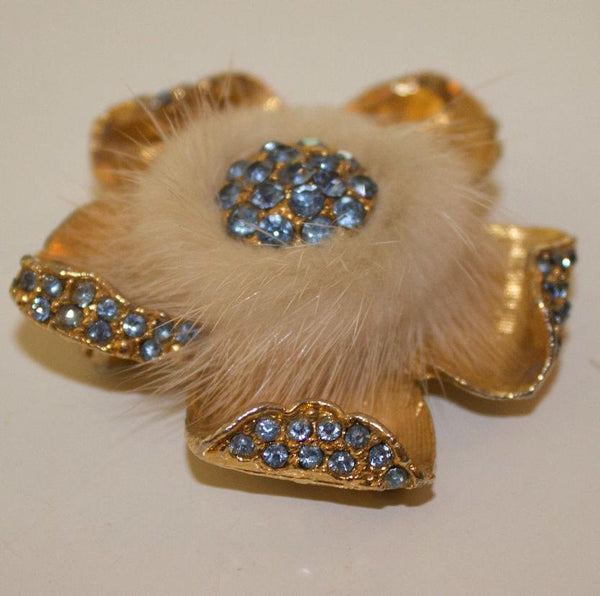 1950s brooch / fur and light blue rhinestone / made in england / gold tones - MyLoftVintage
