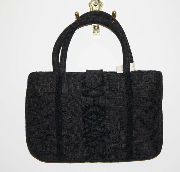 Nice vintage 1970s black purse / Velvet embroideries on black fabric handbag / di camerino style - MyLoftVintage