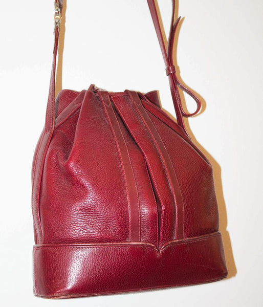 SALE! Cartier 1980s vintage strap bag / Bordeaux dark red bucket shape / Collection luxury purse - MyLoftVintage