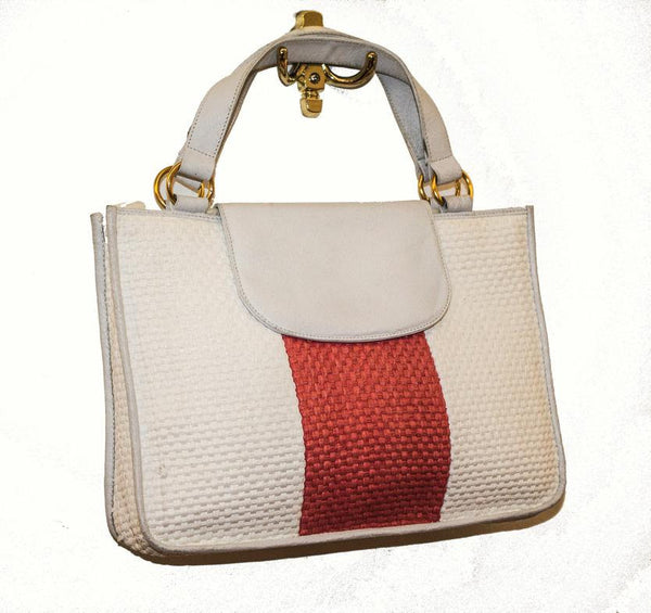 Vintage 1960s handbag / White  and salmon pink / Raffia and leather bag made in italy - MyLoftVintage
