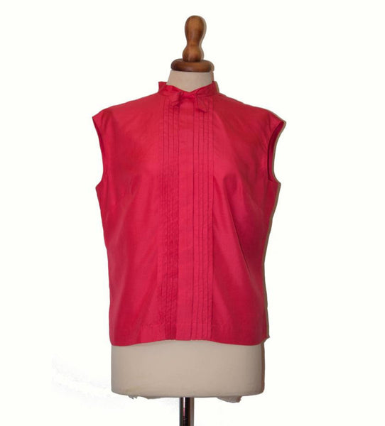 Vintage 1960s silk top / Shocking pink ribbon shirt / Sleeveless shirt / sixties top - MyLoftVintage