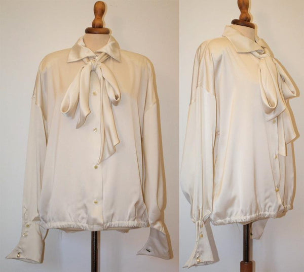 Christian Dior 1980s silk shirt / White bow neck shirt / genuine french / pure silk satin blouse - MyLoftVintage