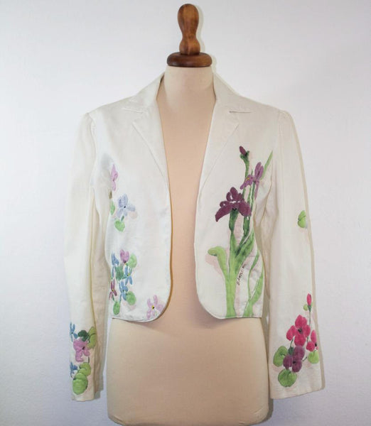 1950s vintage light jacket / Handpainted flower white pink light blue / Rare item - MyLoftVintage