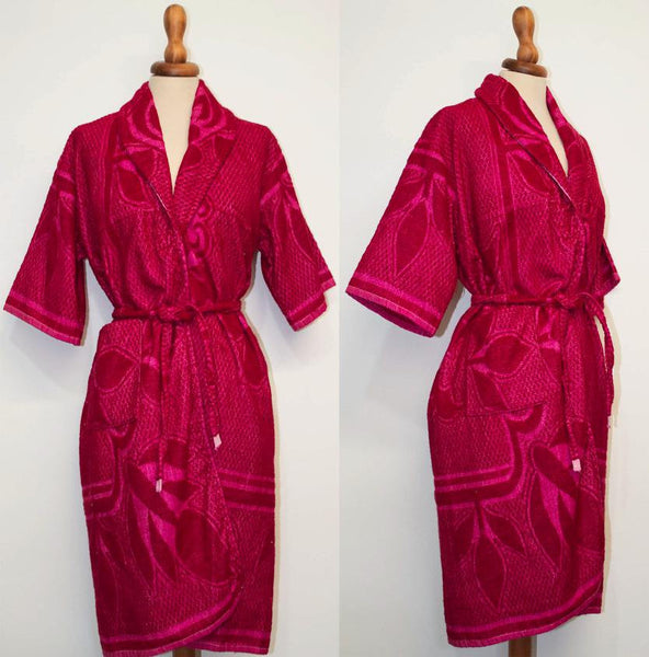 1950s original vintage gown-wrap mini dress / Shocking pink short sleeve embroidered gown Terry cloth. - MyLoftVintage
