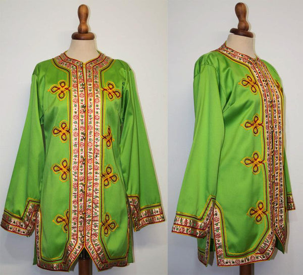 Late sixties green jacket / 1960s embroidered peas green / Sergeant Pepper style / 60s moroccan style jacket - MyLoftVintage