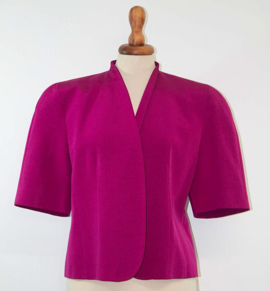 1980s pink jacket / Shocking pink cocktail jacket / 80s makes 50s - MyLoftVintage