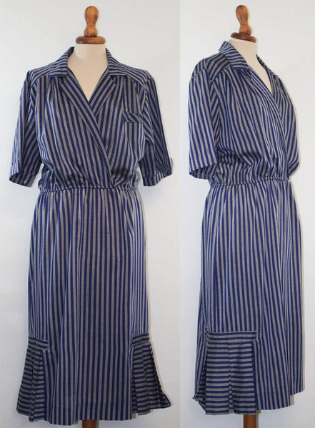 1970s striped dress / Stripes blue grey / cotton Elastic waist / seventies vintage - MyLoftVintage