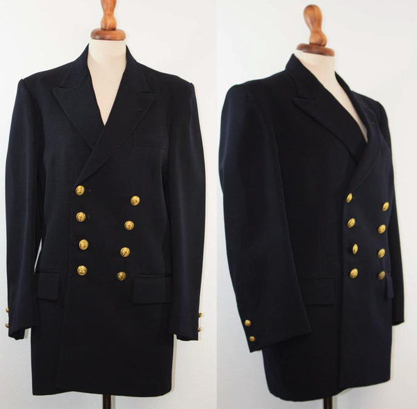 old navy military jacket / Dark blue woolen / Double breasted original vintage - MyLoftVintage