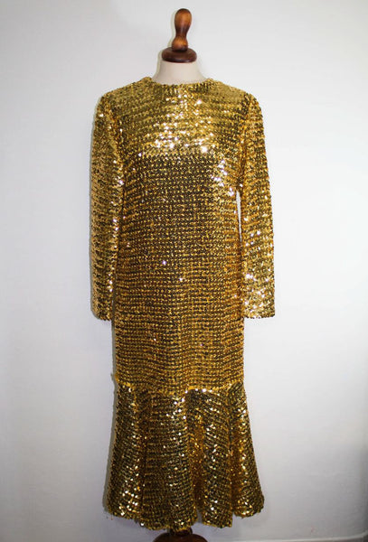 1960s gold dress / sequin sartorial long dress / elegant sparkling dress - MyLoftVintage
