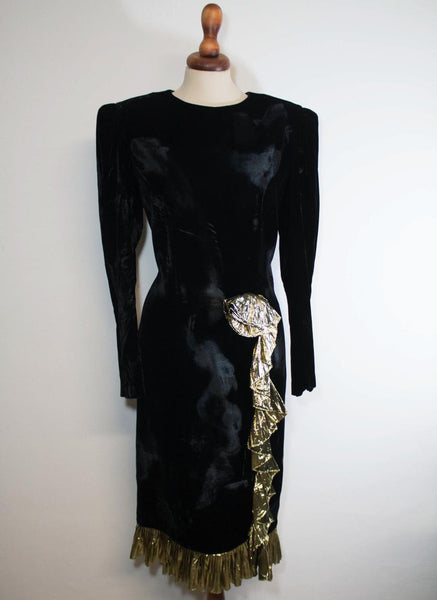 1980s velvet dress / black gold dress / elegant eveving dress / eighties night out dress - MyLoftVintage