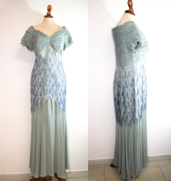 Valentino fabric dress / dust light blue pure silk dress / elegant long dress - MyLoftVintage