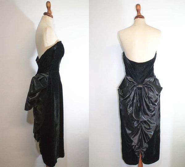 1980s black dress / velvet elegant ribbon dress / tadashi evening dress - MyLoftVintage