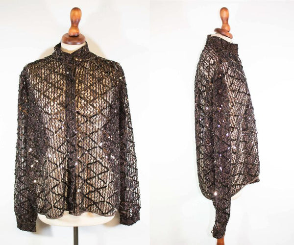 1970s brown shirt / sequin top / brown sequin seventies bluse / see-through top - MyLoftVintage