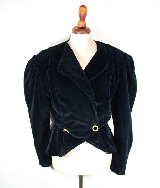 1980s wide shoulders jacket / black velvet blazer / Celine eighties sample - MyLoftVintage
