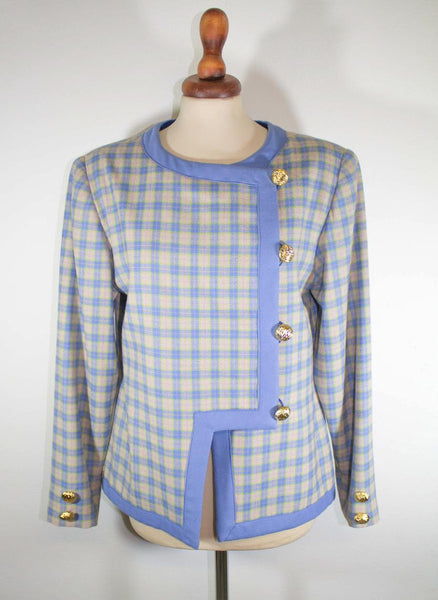 1960s light blue square blazer / golden buttons / made in Italy / chanel style - MyLoftVintage