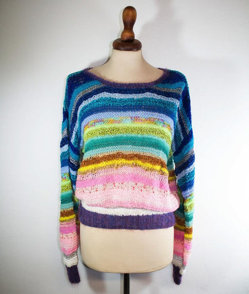 color stripe sweater, 1970s retro sweater, rainbow sweater, oversize sweater - MyLoftVintage