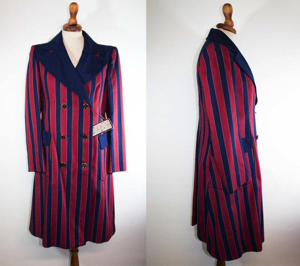 1970s striped coat / vintage blue red stripes / double chest seventies coat - MyLoftVintage