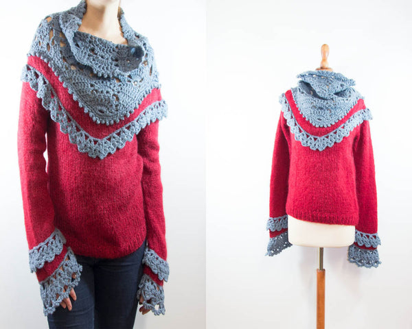 Woolen knit sweater macrame 1970s / handmade grey red top / knitted woman pullover