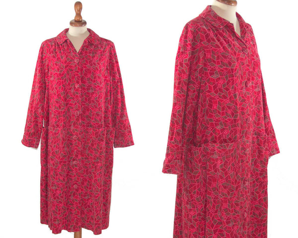 1940s vintage dress shocking pink handmade / velvet sartorisl fabric dress dust coat - MyLoftVintage