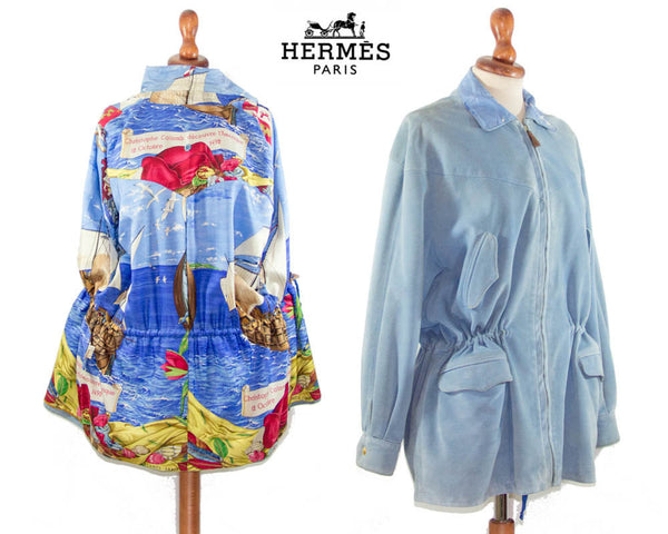 Hermes 1990s vintage Parka / light blue suede with printed silk inside / Authentic jacket made in France /  FR 38 - MyLoftVintage