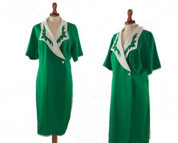 1980s makes 50s dress / green and white vintage waitress style dress / wrap over shaped dress / flame dress / size M L - MyLoftVintage