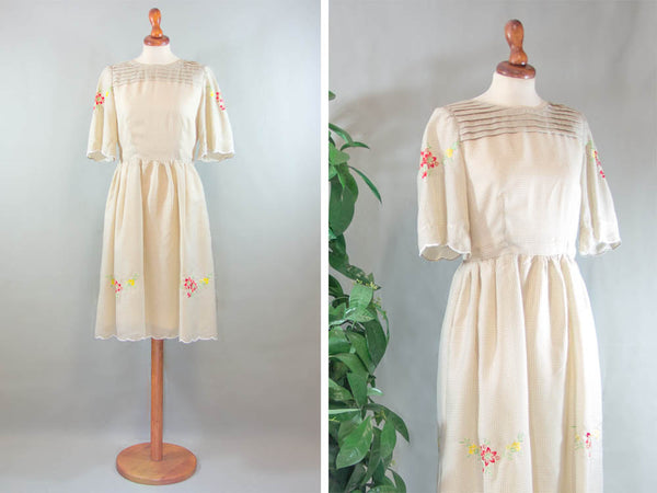50s flower square dress / 1950s vintage pouf dress / white beige sartorial made in italy - MyLoftVintage