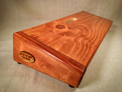 The Hot Box 2.0 Rough Rider Large - American Walnut Stain Pedalboard by KYHBPB,Pedalboards,Kentucky Hot Brown Pedalboards,Kentucky Hot Brown Pedalboards, LLC