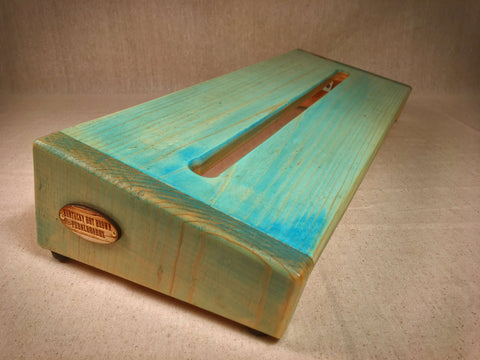 The Hot Box 2.0 Rough Rider Large - Natural with Turquoise Tint Pedalboard by KYHBPB,Pedalboards,Kentucky Hot Brown Pedalboards,Kentucky Hot Brown Pedalboards, LLC