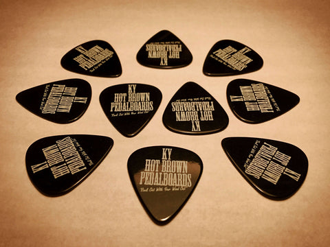 Signature Black Picks 10 Pack - By KYHBPB,Picks / Accessories,Kentucky Hot Brown Pedalboards,Kentucky Hot Brown Pedalboards, LLC