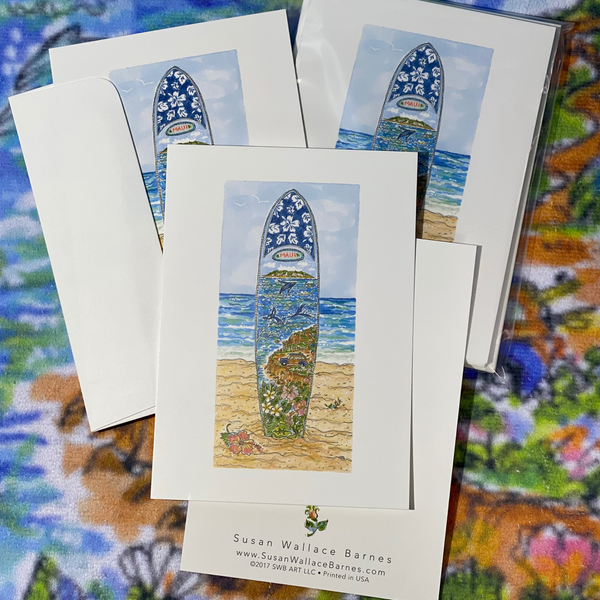 MAUI SURFBOARD 5x7 Postcards with Envelopes - SET OF 10