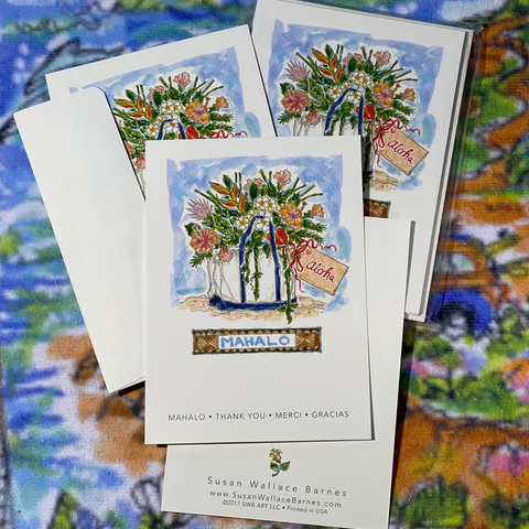 THANK YOU MAHALO 5x7 Postcards with Envelopes - SET OF 10