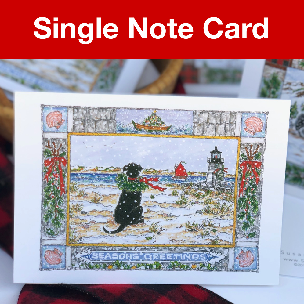 Black Dog Holiday Note Card 5x7 with Envelope - SINGLE