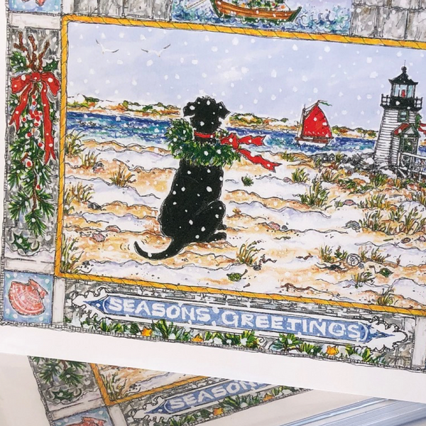 Black Dog Holiday Note Cards 5x7 with Envelopes - SET OF 10