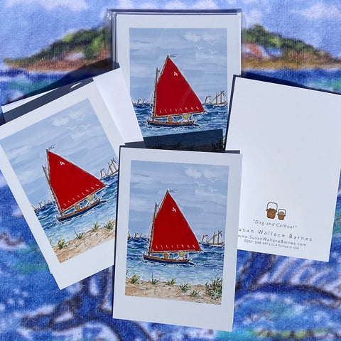 DOG & CATBOAT FOLDING Note Cards 5x7 with Envelopes - SET OF 10