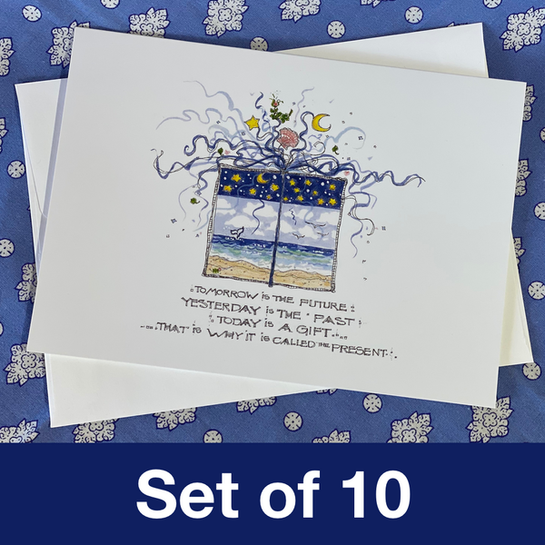 THE PRESENT Note Cards 5x7 with Envelopes - SET OF 10