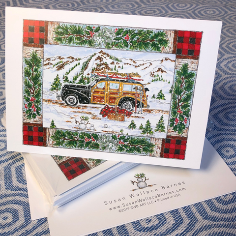 Woodie Holiday Note Cards 5x7 with Envelopes - SET OF 10