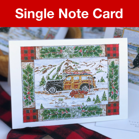 Woodie Holiday Note Card 5x7 with Envelope - SINGLE