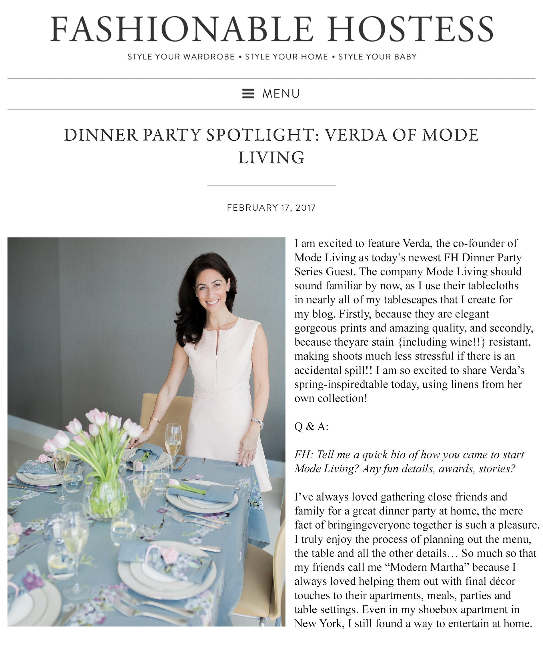 Fashionable Hostess Featuring Mode Living
