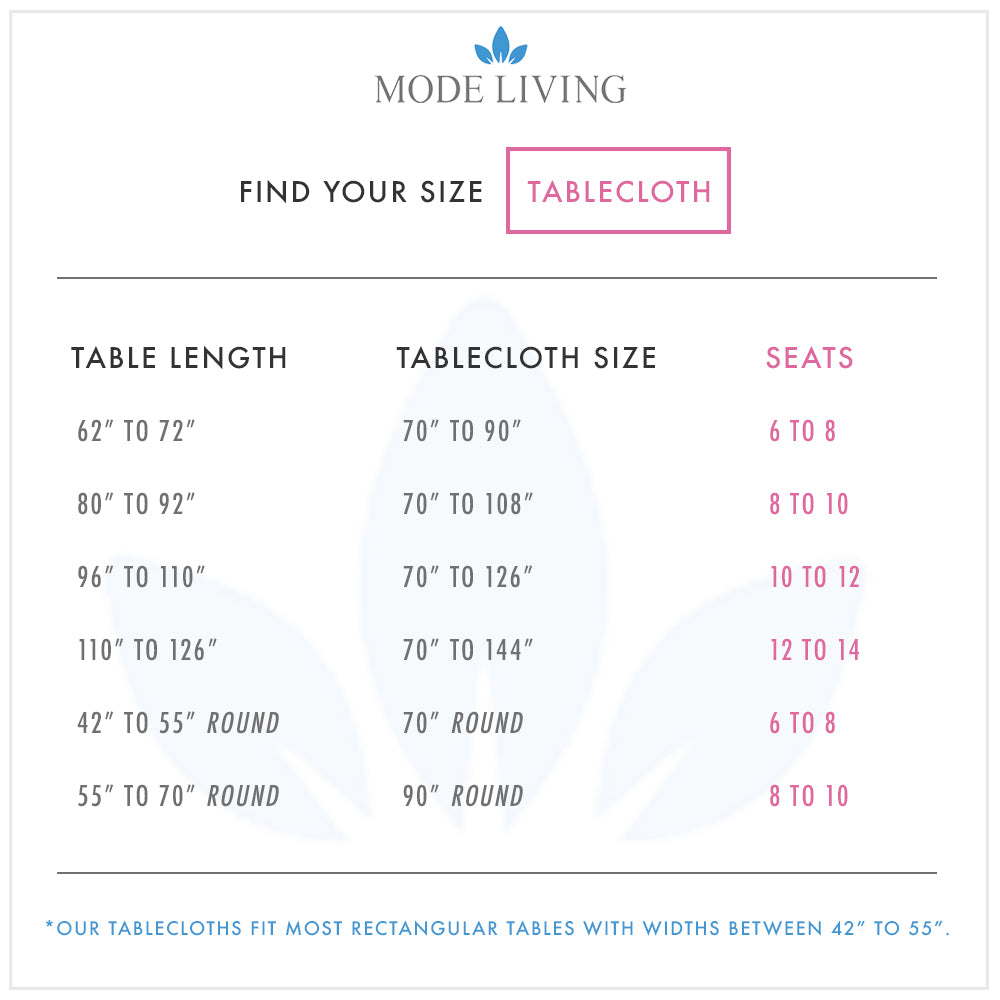 Tablecloth Size Chart by Mode Living