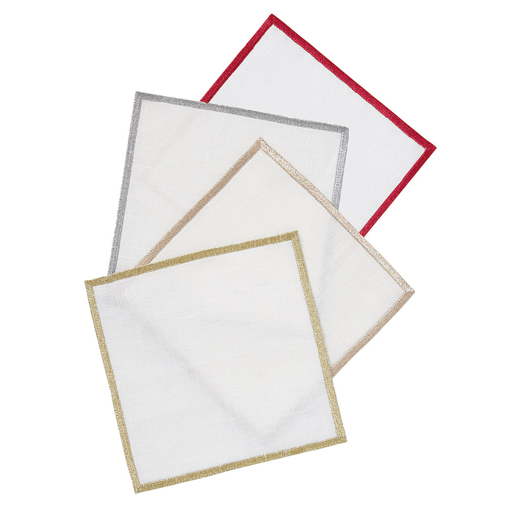 Bel Air Metallic Cocktail Napkins, S/4